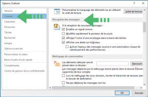Désactiver notification outlook