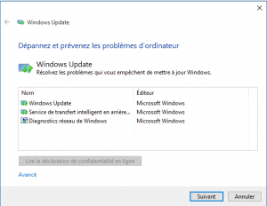dépannage Windows Update site