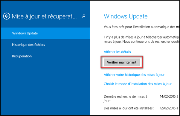 vérifier Windows update