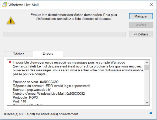 erreur windows live mail 0x800ccc90
