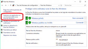 autoriser une application ou une fonctionnalité via Le pare-feu windows