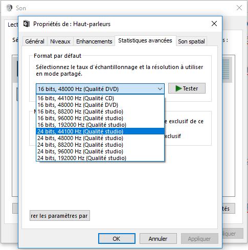 Changer le taux d'échantillonnage et la profondeur de bits audio