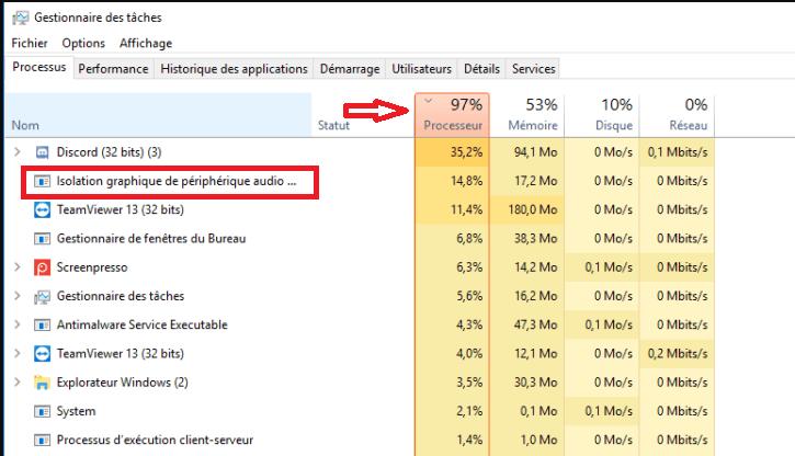 Isolation graphique de périphérique Audio Windows