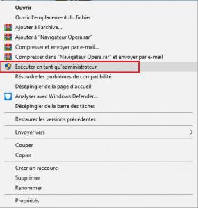 Exécuter le fichier en tant qu'administrateur