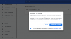Réinitialiser google chrome